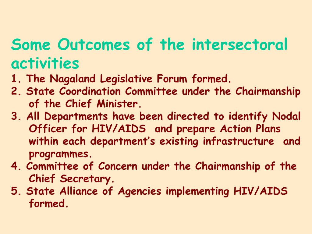 Some Outcomes of the intersectoral activities