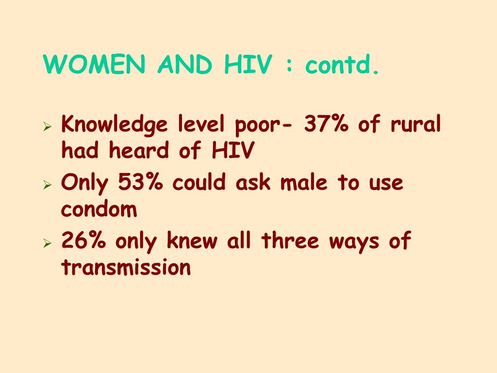WOMEN AND HIV : contd.