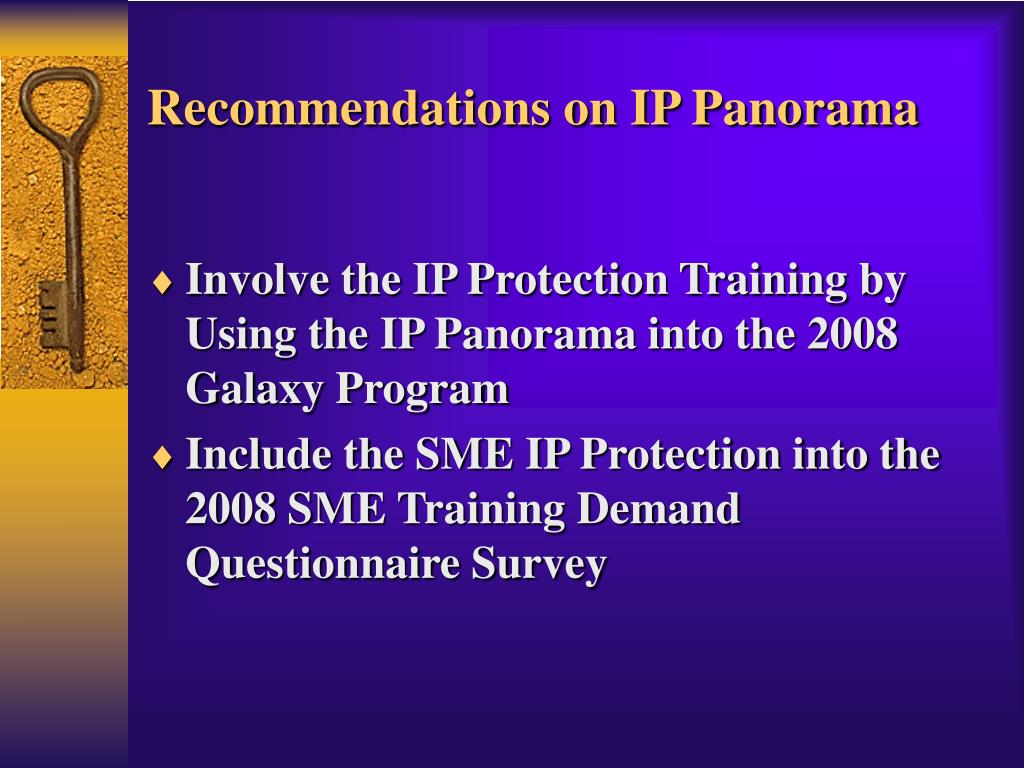 Recommendations on IP Panorama