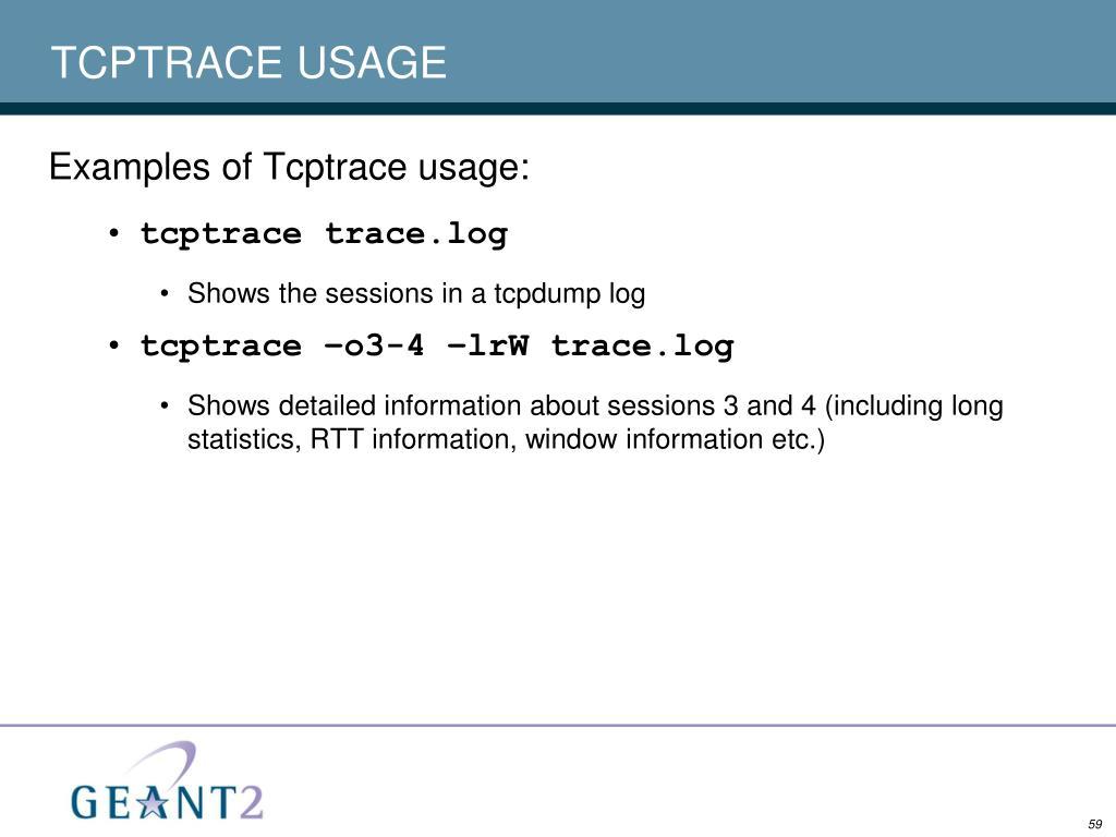 TCPTRACE USAGE