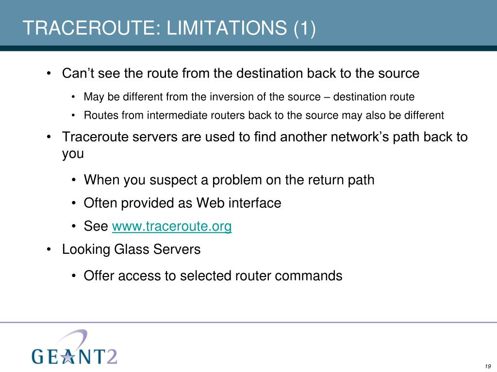 TRACEROUTE: LIMITATIONS (1)