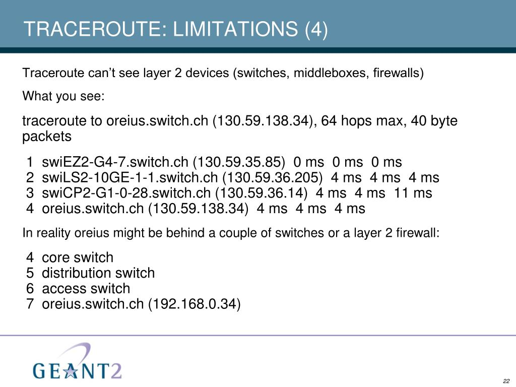 TRACEROUTE: LIMITATIONS (4)