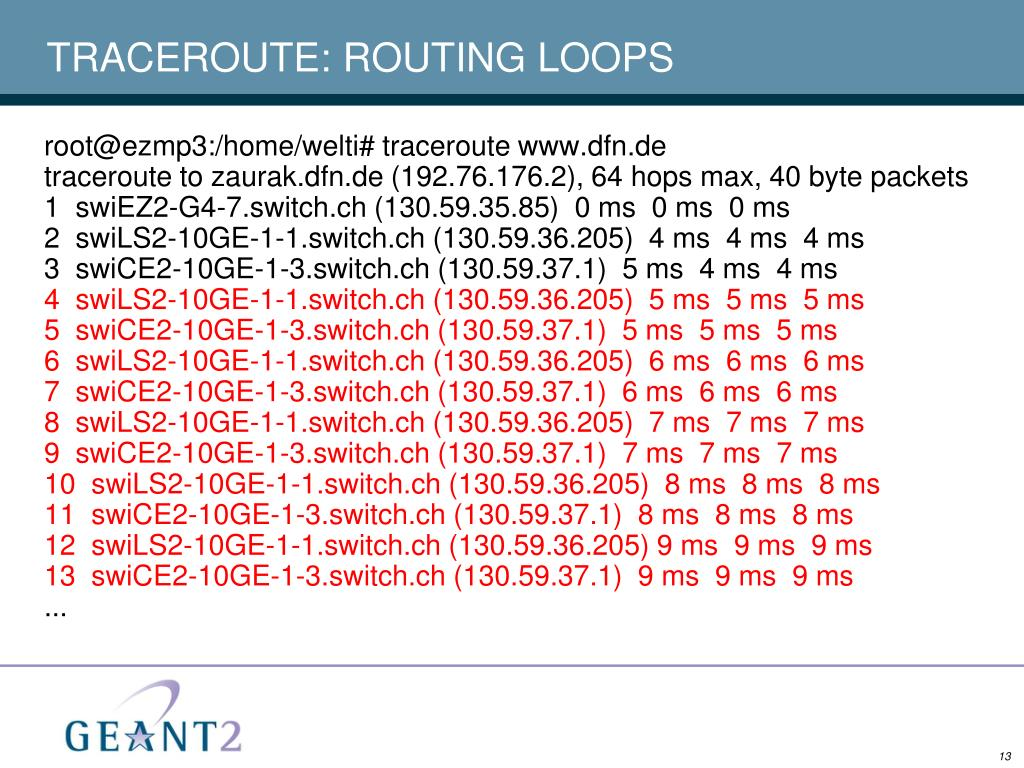 TRACEROUTE: ROUTING LOOPS