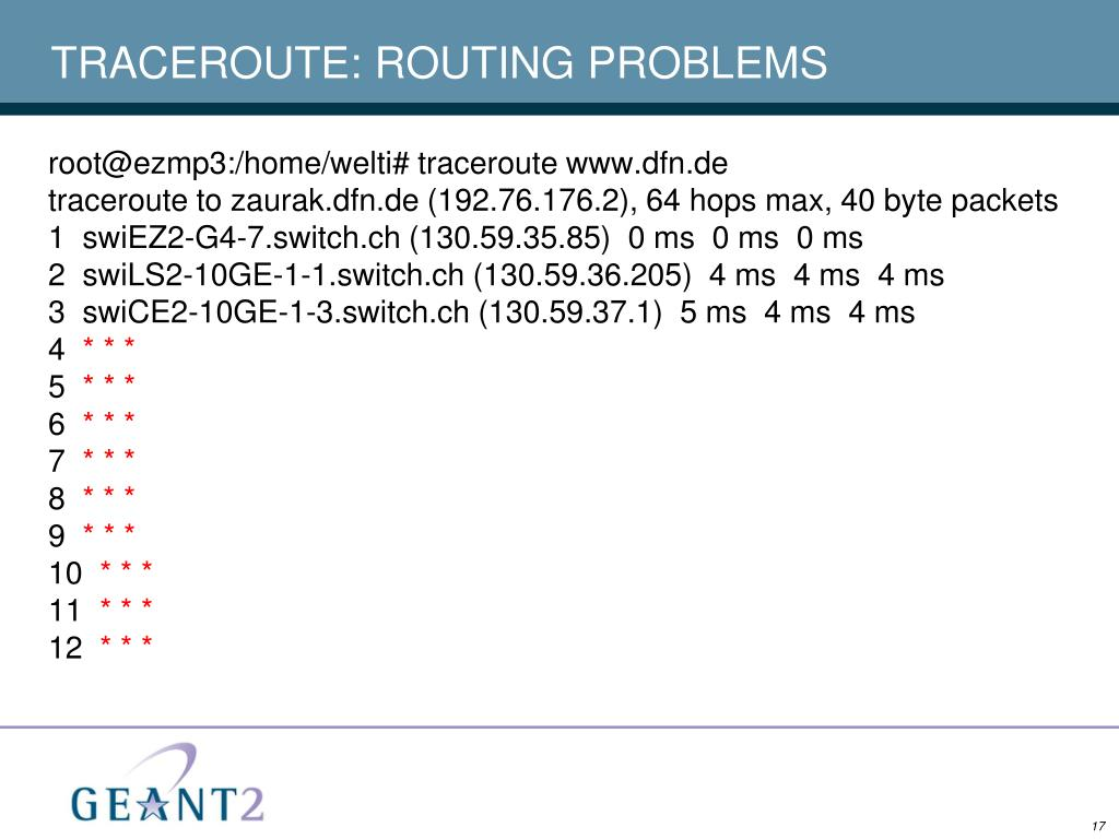 TRACEROUTE: ROUTING PROBLEMS