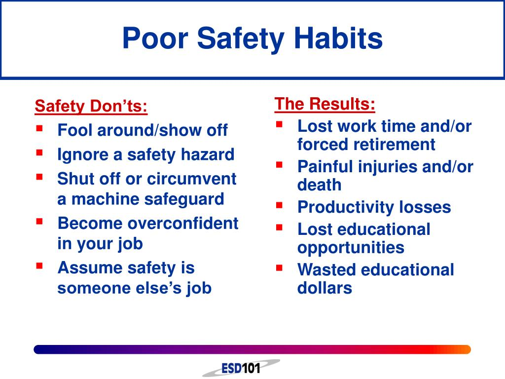Poor Safety Habits