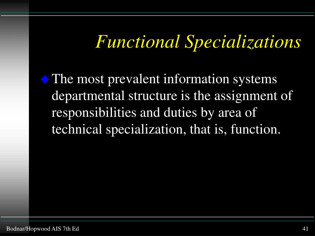Functional Specializations