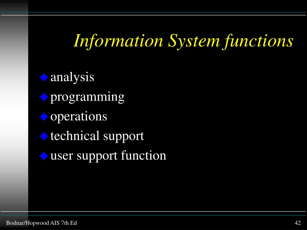 Information System functions