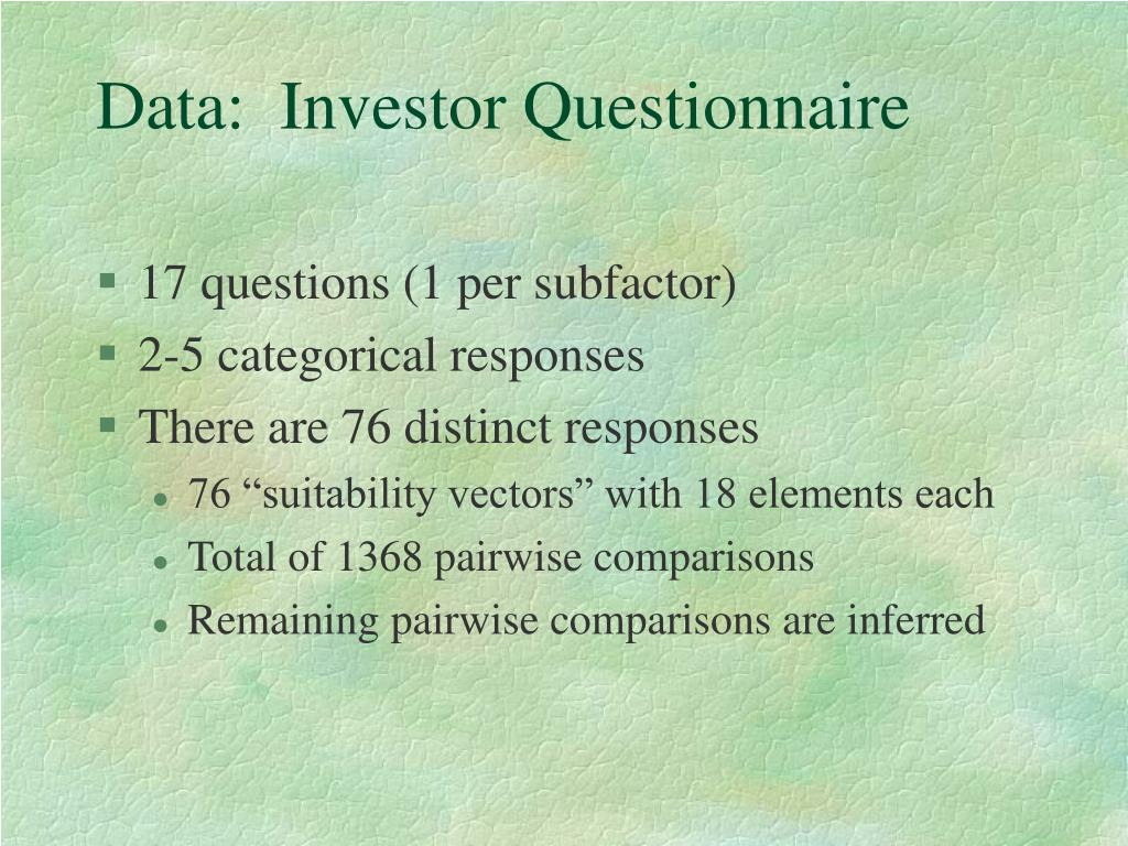 Data:  Investor Questionnaire