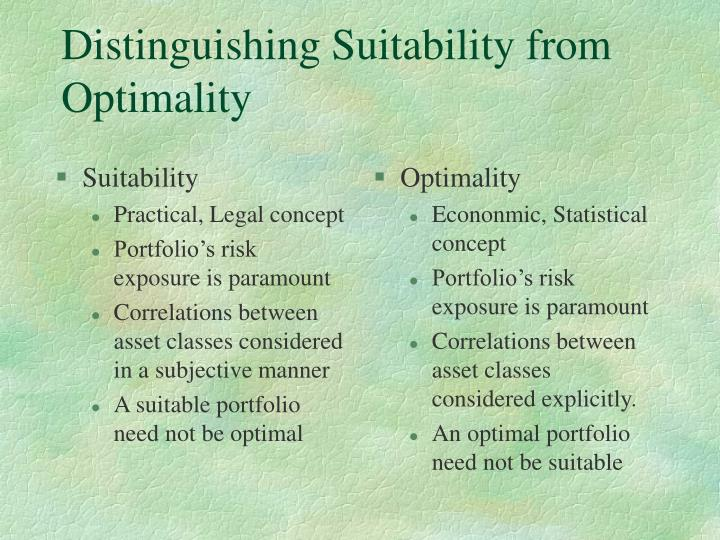 Distinguishing suitability from optimality