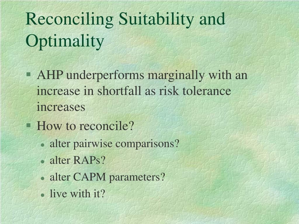 Reconciling Suitability and Optimality