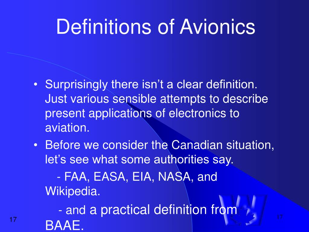 Definitions of Avionics