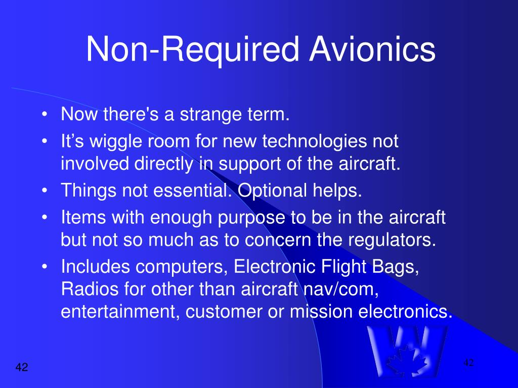 Non-Required Avionics