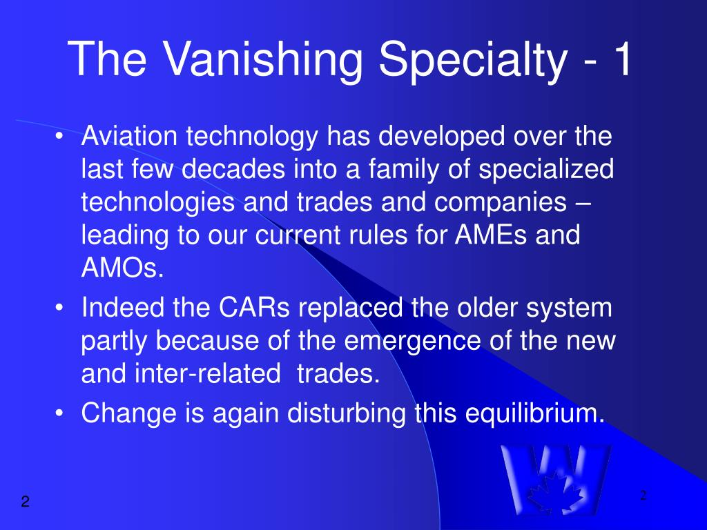 The Vanishing Specialty - 1