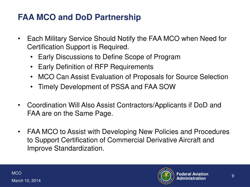 FAA MCO and DoD Partnership