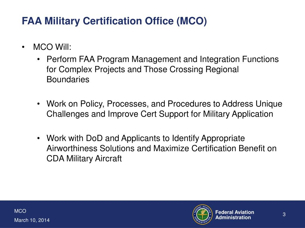 FAA Military Certification Office (MCO)
