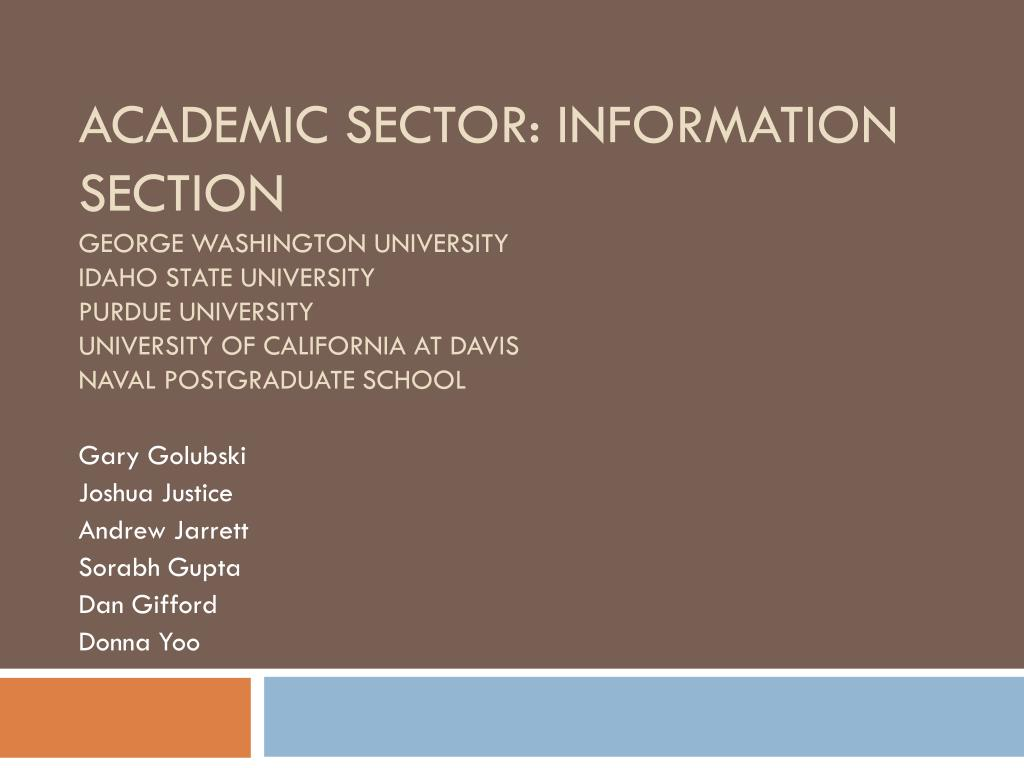 Academic Sector: Information Section