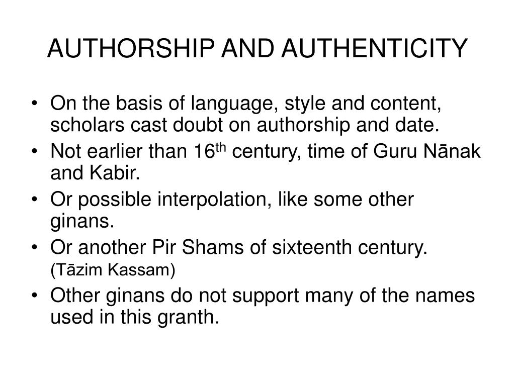 AUTHORSHIP AND AUTHENTICITY
