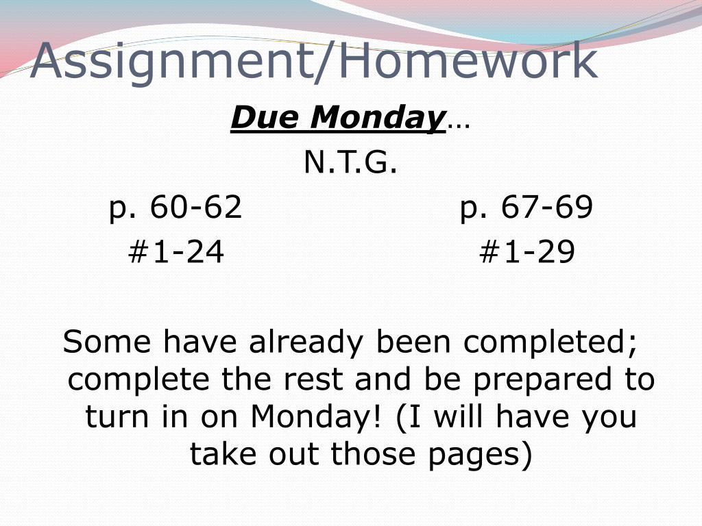 Assignment/Homework