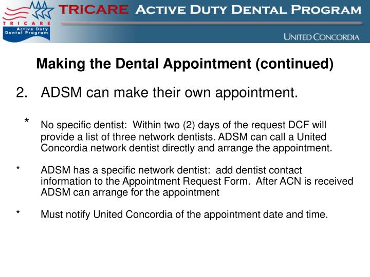 Making the Dental Appointment (continued)