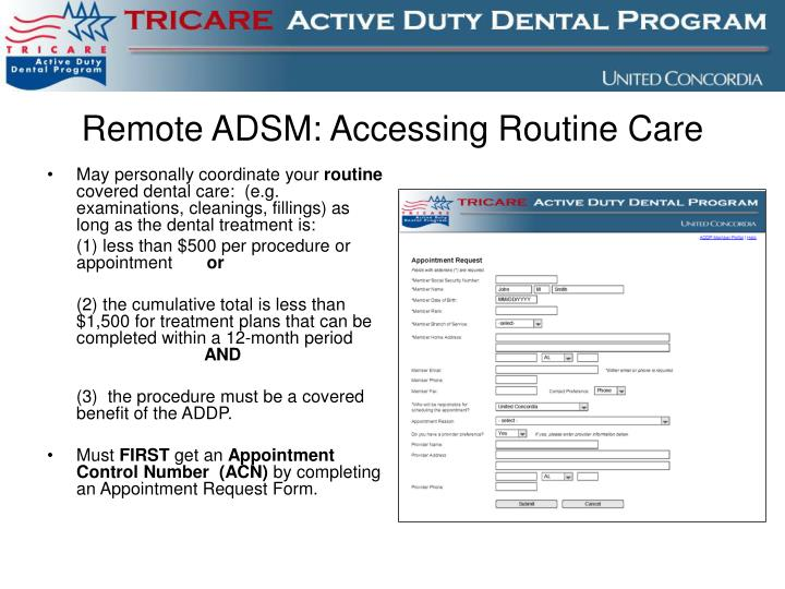Remote ADSM: Accessing Routine Care