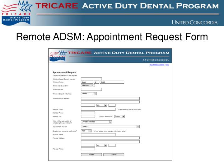 Remote ADSM: Appointment Request Form