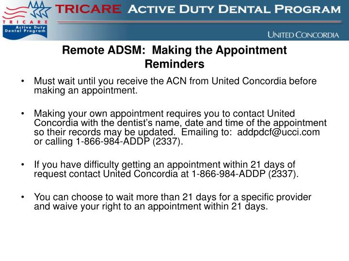 Remote ADSM:  Making the Appointment