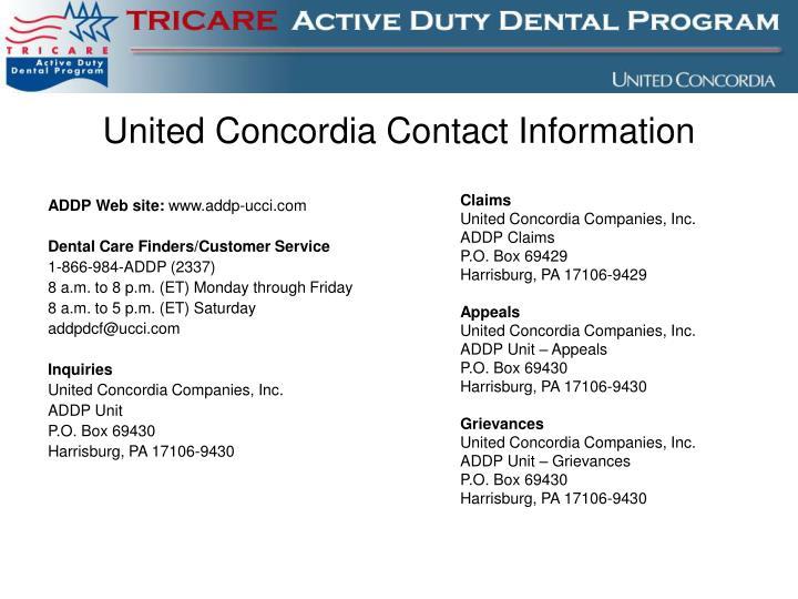 United Concordia Contact Information
