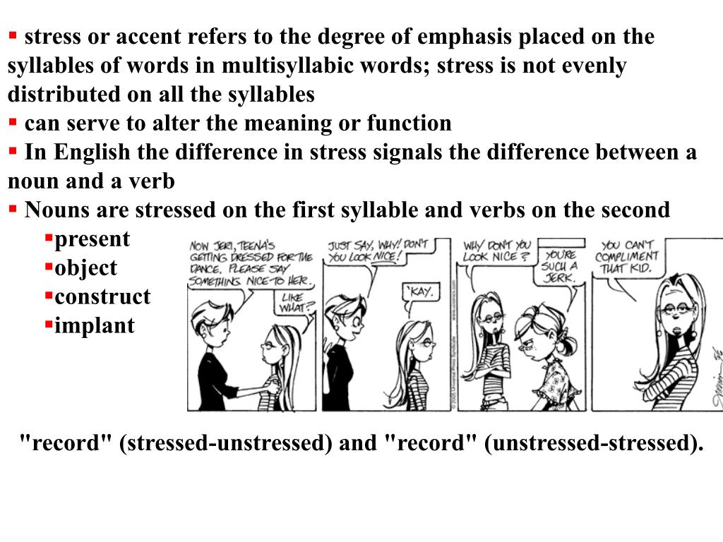 stress or accent refers to the degree of emphasis placed on the syllables of words in multisyllabic words; stress is not evenly distributed on all the syllables
