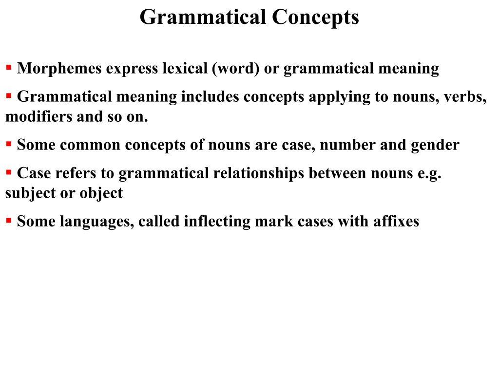 Grammatical Concepts
