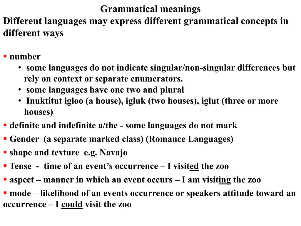 Grammatical meanings