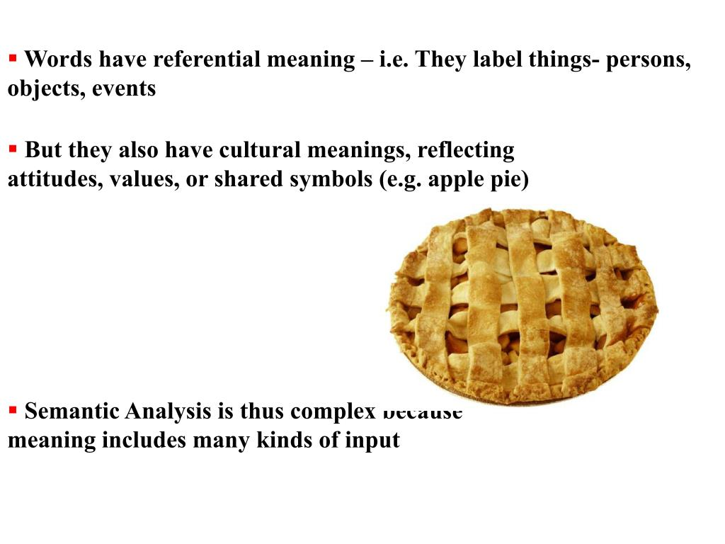 Words have referential meaning – i.e. They label things- persons, objects, events