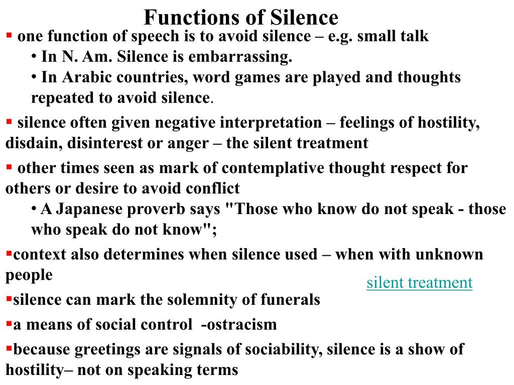 Functions of Silence