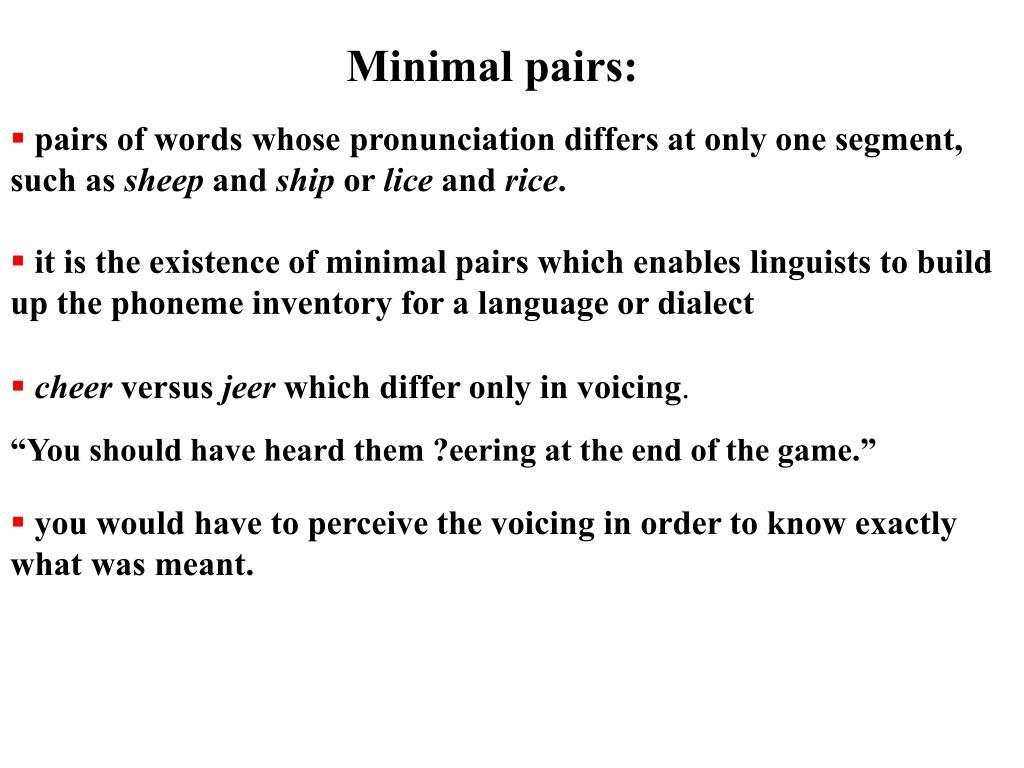 Minimal pairs: