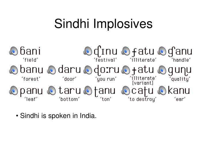 Sindhi Implosives