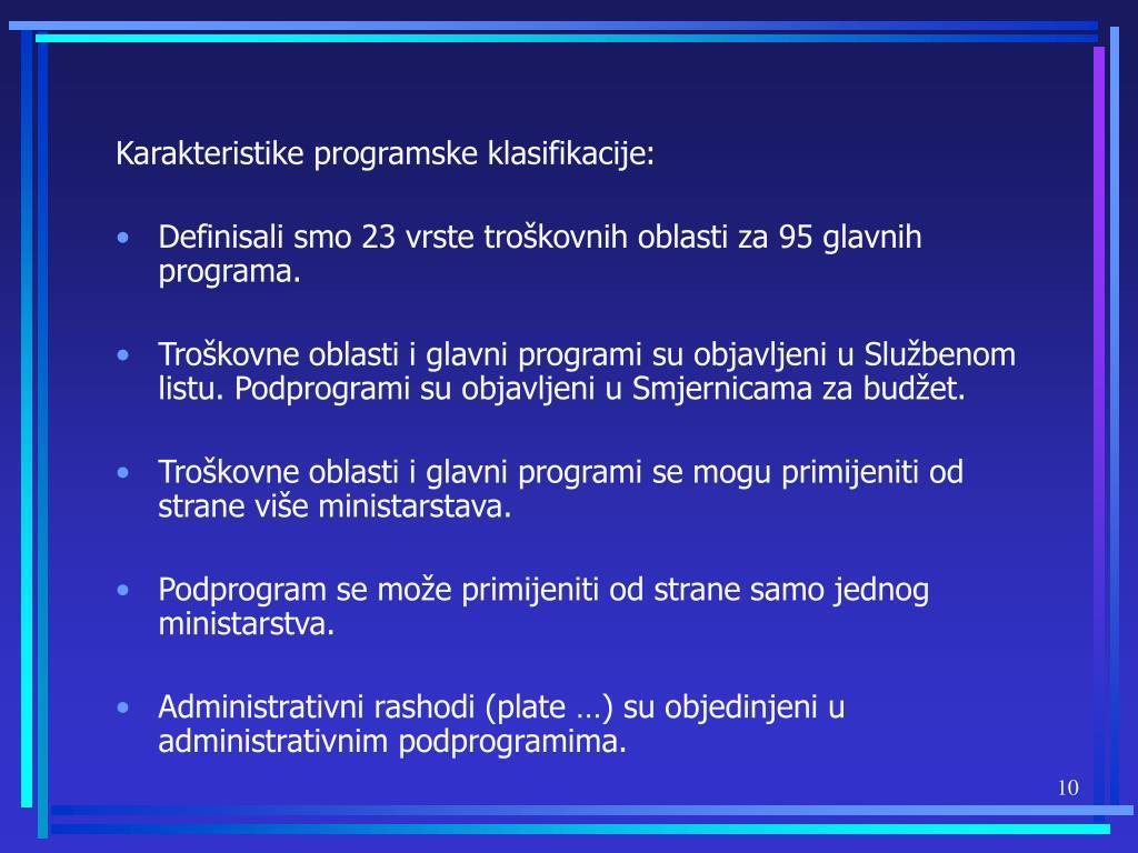 Karakteristike programske klasifikacije