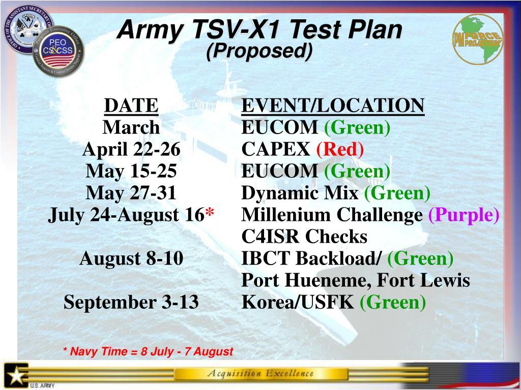 Army TSV-X1 Test Plan