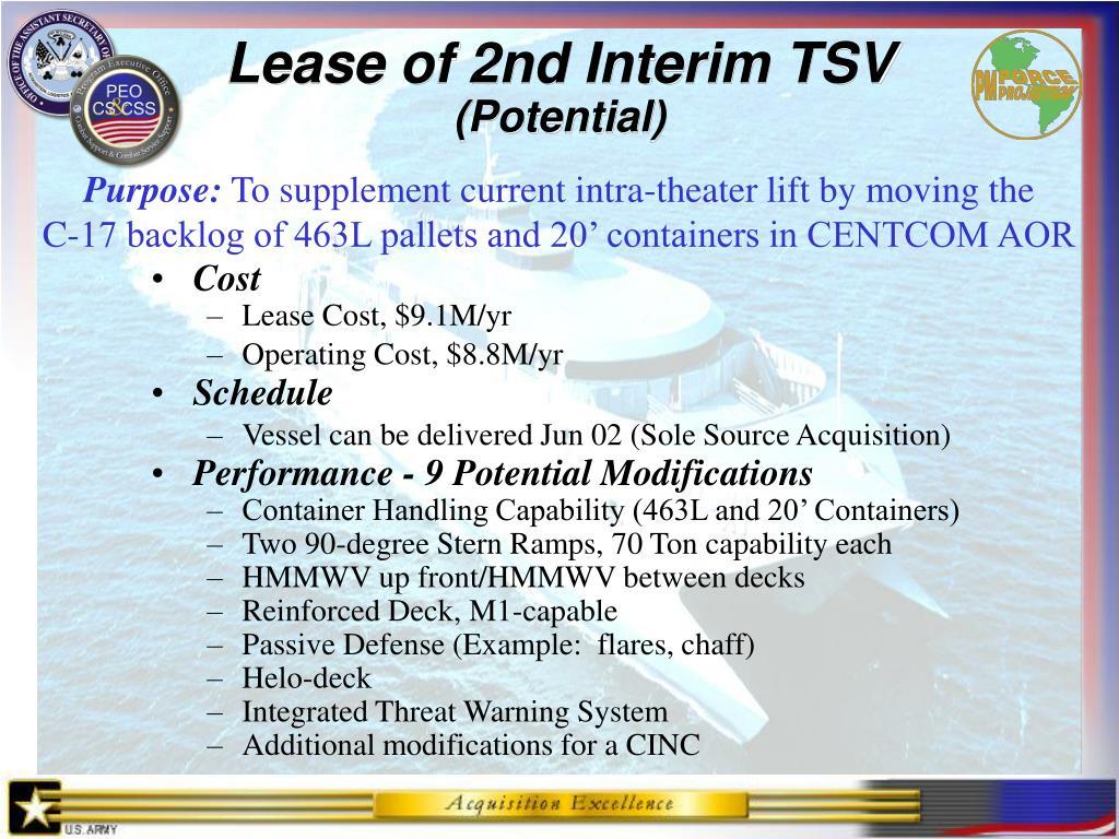 Lease of 2nd Interim TSV