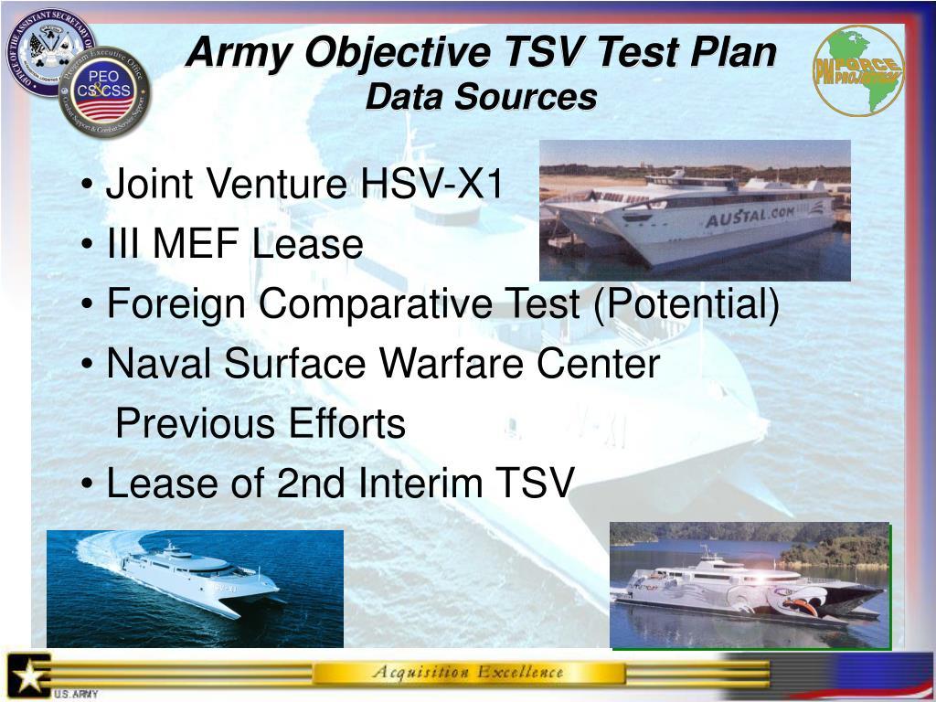 Army Objective TSV Test Plan