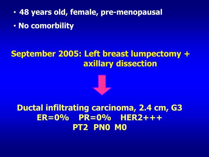 48 years old, female, pre-menopausal