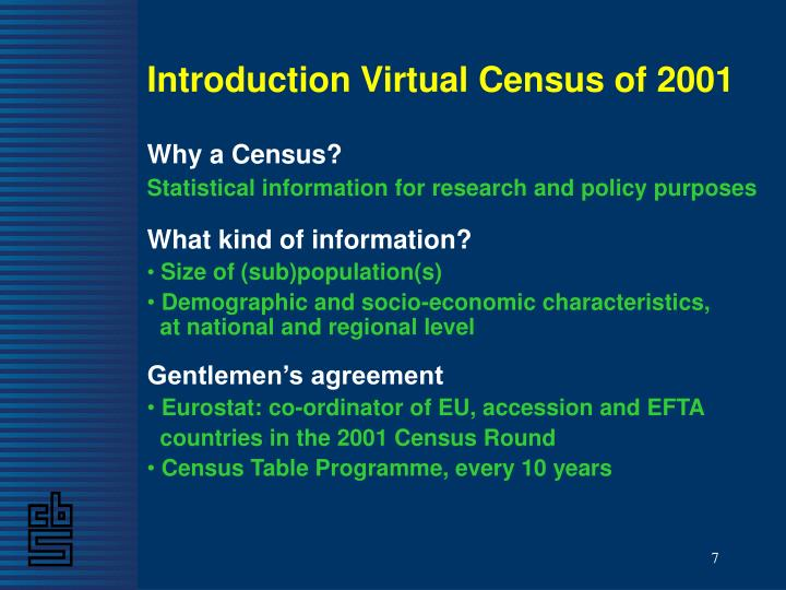Introduction Virtual Census of 2001