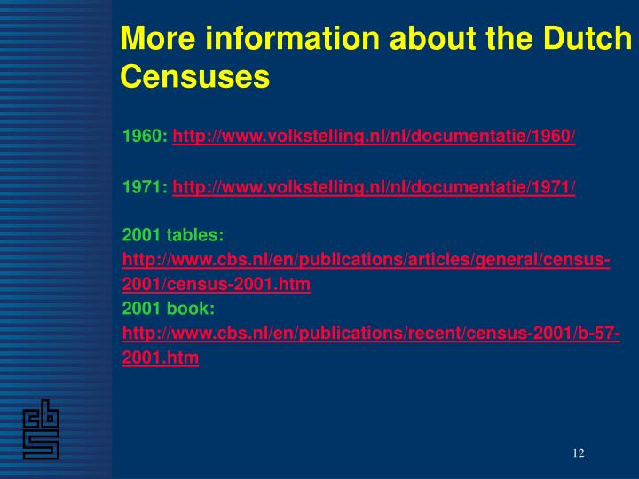 More information about the Dutch Censuses