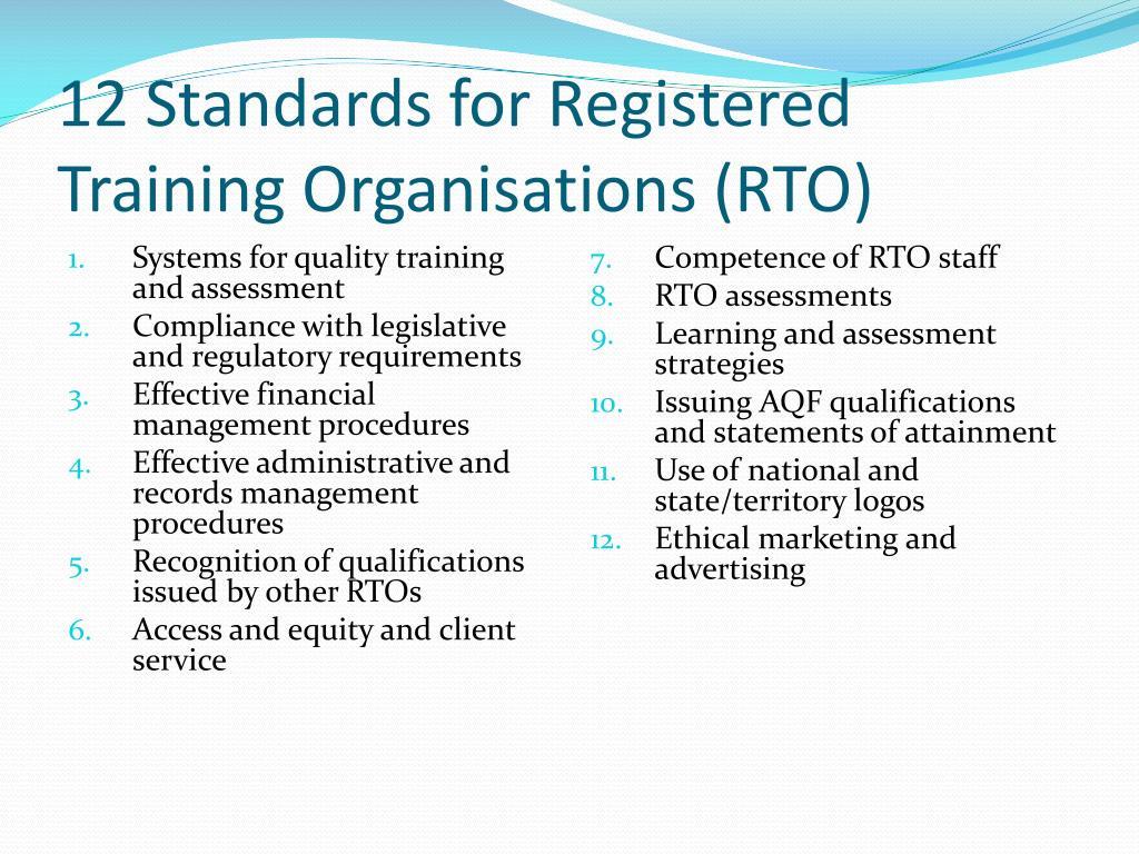 12 Standards for Registered Training Organisations (RTO)