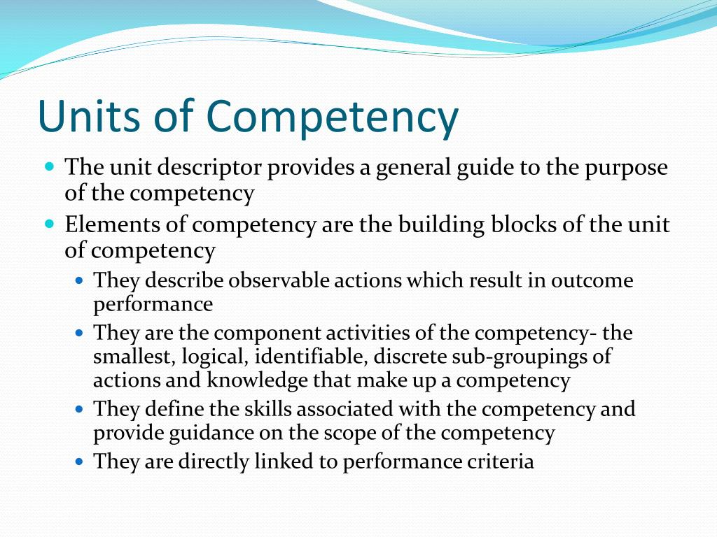 Units of Competency
