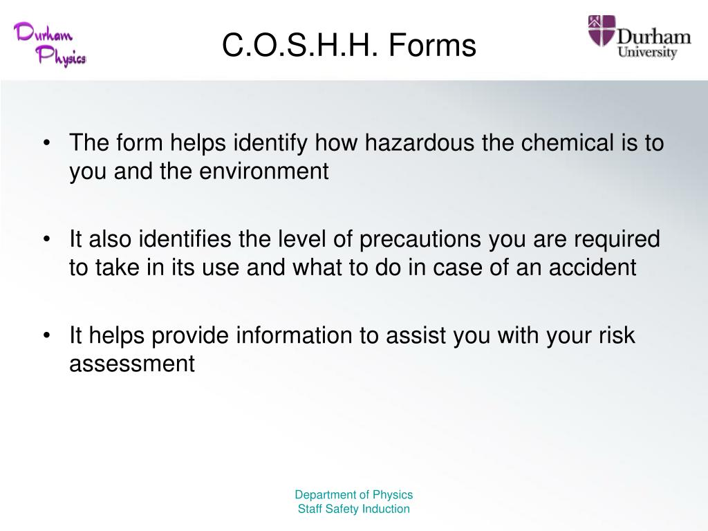 C.O.S.H.H. Forms