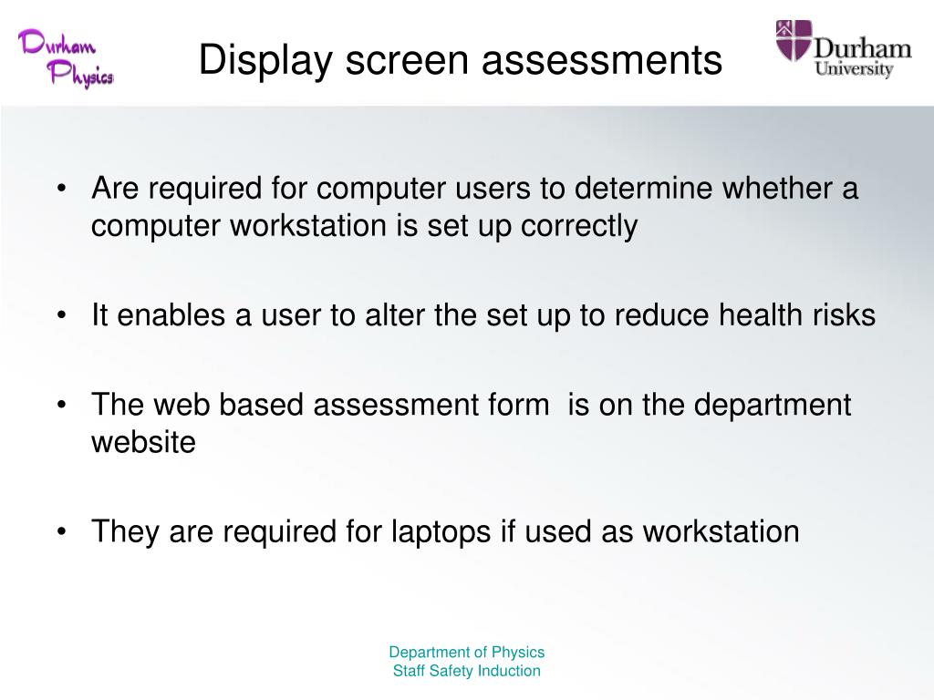 Display screen assessments