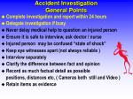 accident investigation general points