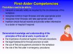 first aider competencies