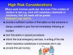 high risk considerations
