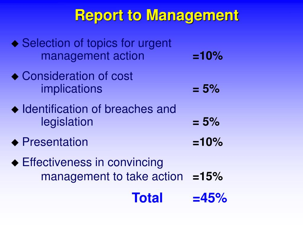 Report to Management