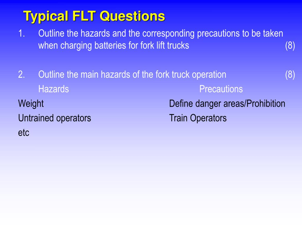 Typical FLT Questions